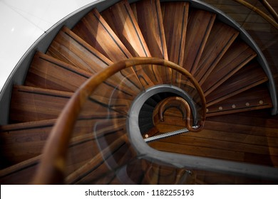 Wooden spiral staircase, the view from above