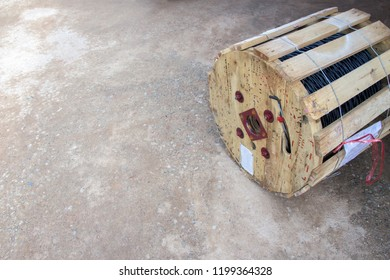 Wooden spools of cable at the construction site,Electrical wiring