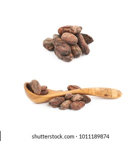 Wooden spoon of cocoa beans isolated over the white background, set of several different foreshortenings