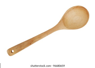 Wooden spoon with a hole for the strap on  white background