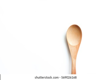 wooden spoon isolated on the white background