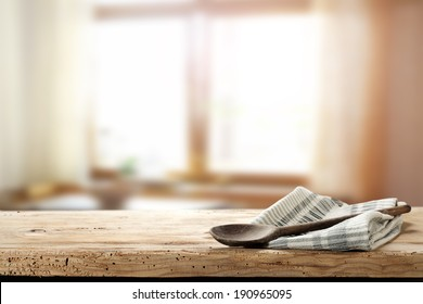 wooden spoon and napkin with window