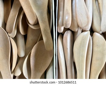 Wooden spoon and spatula, kitchen utensil made from wood