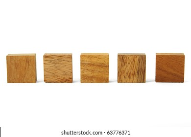 wooden square figures in line isolated