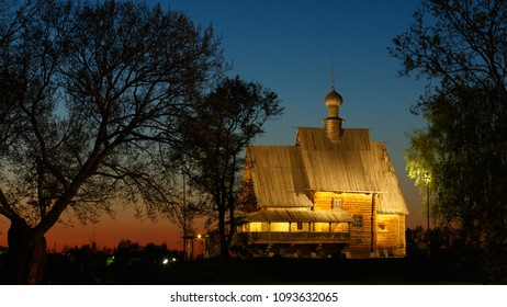 Wooden St. Nicholas Church (1766) in Suzdal Kremlin at sunset