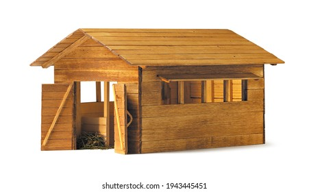 wooden stable, isolated on white background