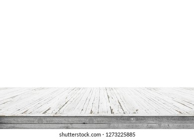 Wooden stage of planks with pealing white paint isolated on a white background