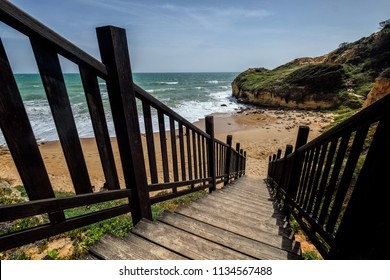 Wooden Stair to the Beach in Albufeira portugal
