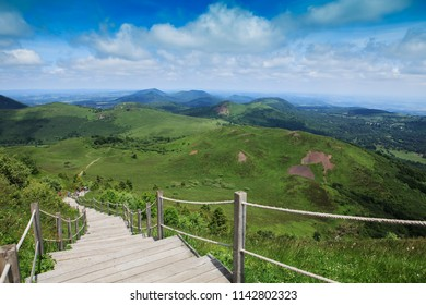 wooden stair to reach the summit