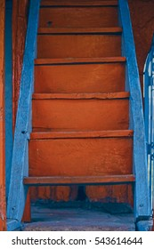 Wooden Staircase with Bright Colour