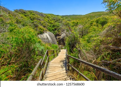 Wooden staircase from Elephant Rocks to Elephant Cove Beach in William Bay National Park near Denmark, Western Australia. The popular Elephant Rocks Walk from Greens Pool.