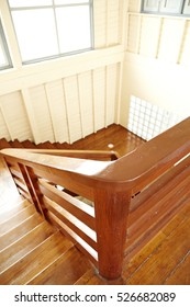Wooden staircase of environmentally friendly materials