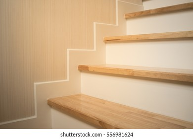 wooden staircase in home, soft focus