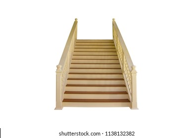 Wooden staircase, isolated on white background with clipping path.