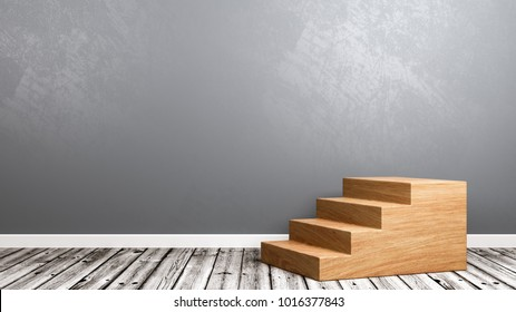 Wooden Staircase on Wooden Floor Against Gray Wall with Copy Space 3D Illustration