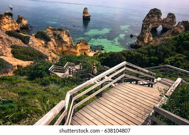 Wooden stairs to Camilo beach in Lagos, Algarve