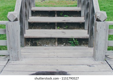 Wooden Stairs Connect To Terrace