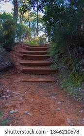 Wooden stairs on Le Sentier des Ocres in Roussillon