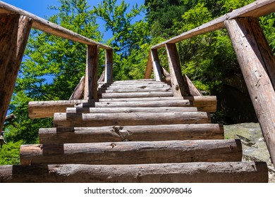 wooden stairs on a rocky path with the sky and trees in the background