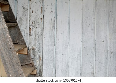 wooden stairs on traditional house