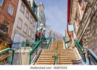 Wooden Stairs in Quebec City Old Town