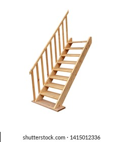 Wooden stairs or steps with railings isolated on white background.