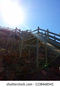 Wooden Stairway Blue Sky - Hallett Cove Boardwalk Adelaide Australia March 2018