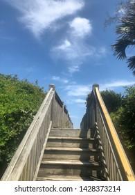 Wooden stairway/ boardwalk to the beach.