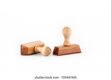 wooden stamps on a white background. Free text space