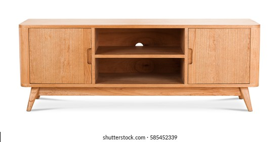 Wooden stand, bureau, commode with boxes. Modern designer, commode isolated on white background. Series of furniture