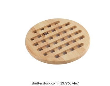 wooden stand under the hot pan or pot isolated on white background