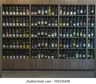 Wooden stand with wine bottles, background. Russia. Saint-Petersburg. Autumn 2017