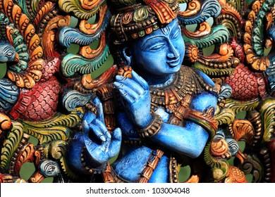 Wooden Statue of lord krishna