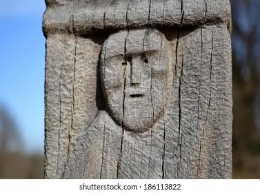 Wooden statue of the Slavic idol. Lutsk, Ukraine. The ancient wooden idol figure. Kievan Rus State in Ukraine. Slavs. Pagans.