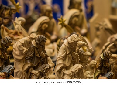 wooden statues of the crib in a Christmas market in Italy, Merano
