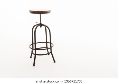 Wooden steel legs simplistic bar chair isolated on white background; work with path.