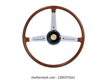 wooden steering wheel isolated on white