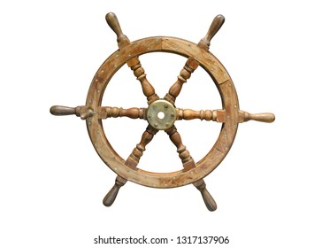 wooden steering wheel isolated on white background