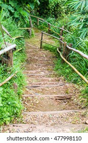 Wooden steps with bamboo rail in Thai country, Thailand