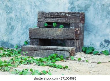 wooden steps. eco architecture details
