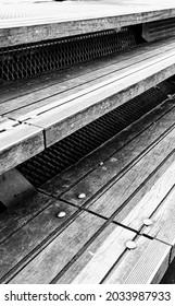 wooden steps in the steet
