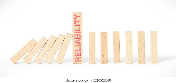 Wooden sticks in a row with RELIABILITY word imprinted on wooden surface isolated on white background