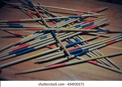 Wooden sticks used in Mikado aka Shanghai game