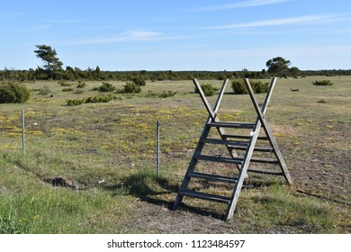 Wooden stile in the unique landscape, Great Alvar Plain, at the swedish island Oland