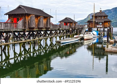 Wooden stilt houses at the marina of Cowichan Bay, Vancouver Island, British Columbia, Canada