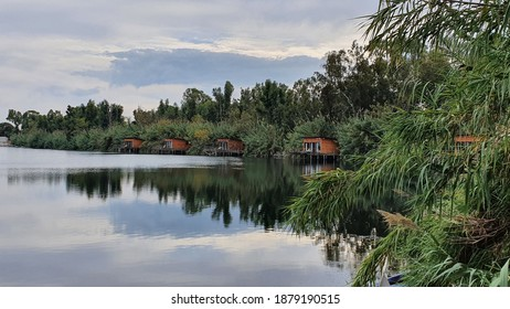 Wooden stilt houses on the artificial lake called Nabi, hidden in an overgrown clearing. Castelvolturno, Italy