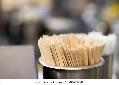 Wooden stir sticks. Sticks for coffee.
