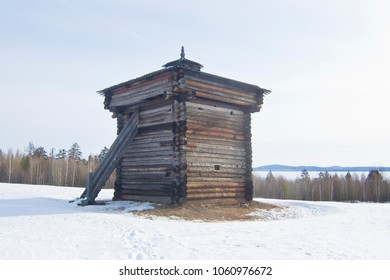 Wooden Stockaded Fort. Bratsk, Siberia, Russia.