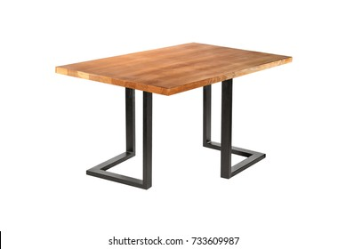 A wooden or stone table on a white background on iron legs