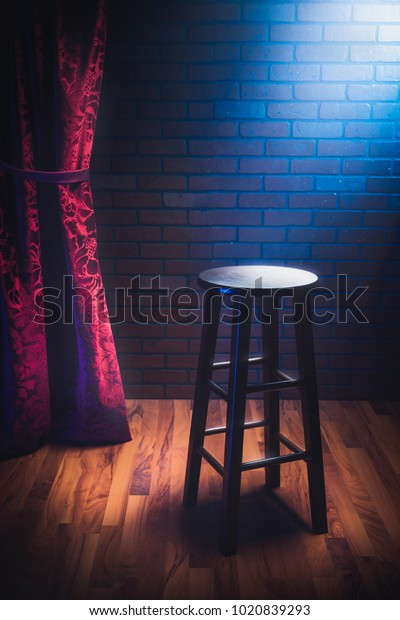 Amazing Wooden Stool On Stand Comedy Stage Stock Photo Edit Now Gmtry Best Dining Table And Chair Ideas Images Gmtryco